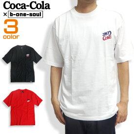 コカ・コーラ Tシャツ ロゴプリント 半袖Tシャツ Coca-Cola プリントTシャツ トップス ワイドシルエット メンズトップス b-one-soul コラボデザイン ロゴ プリント ビーワンソウル 商品番号 TSS-327
