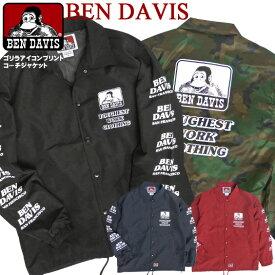 BEN DAVIS コーチジャケット メンズ ジャケット ベンデイビス ウインドブレーカー バックプリント ゴリラアイコン 袖プリント ベンデービス ナイロンジャケット 2019AW ライトアウター アメカジ ストリート カジュアル BEN-1422