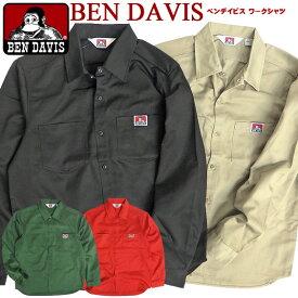 BEN DAVIS 長袖シャツ ベンデイビス ワークシャツ メンズ ゴリラアイコン ブランドタグ ワンポイント ツイルシャツ ベンデービス 2019AW 長袖 シャツ TCツイル アメカジ カジュアル ワークスタイル メンズトップス BEN-1424