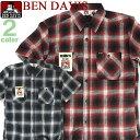 BEN DAVIS 半袖ワークシャツ ベンデイビス シャツ ★ ベンデービス 胸元のポケットにベンデビのタグ入りです。柔らかな肌触り。着回しやすいチェック柄の半...