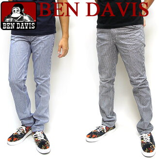 BEN DAVIS Slim pants Ben Davis men's ★ Ben Davis on long pants. The shorts four pockets are handy. Hickory stripe in fashionable, slim casual pants appeared in the development two-color blue and Navy. ⇒ BEN-736