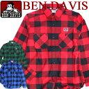 BEN DAVIS 長袖シャツ ベンデイビス バッファローチェック ベンデービス カジュアルなスタイルで定番のチェック柄アイテム 胸ポケット上のゴリラタグがポイント シンプルなシャツ 着回しの効く ト