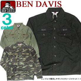 BEN DAVIS シャツ ベンデイビス シャツジャケット ベンデービス ミリタリーテイストのシャツジャケットが登場です。雰囲気のあるミリタリー調のデザインがカッコイイ仕上がりになったベンデビのシャツジャケットです。⇒BEN-654
