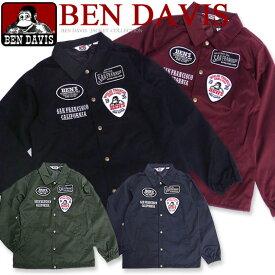 BEN DAVIS コーチジャケット ベンデイビス ジャケット ツイル地 コーチジャケット ベンデービス ジャケット メンズ コーチジャケット。フロントのワッペンとロゴ刺繍のデザインがお洒落なベンデビのツイルコーチジャケット。BEN-1043