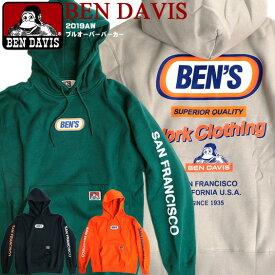 BEN DAVIS パーカー ベンデイビス ストアスタッフパーカー バックプリント プルオーバー スウェット ゴリラタグ スエットパーカー 裏起毛ベンデービス トップス 2019AW アメカジ カジュアル ストリート BEN-1442