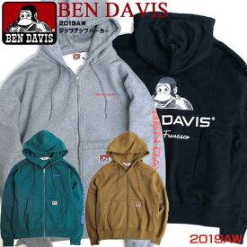 BEN DAVIS パーカー ベンデイビス ジップアップパーカー ワンポイント刺繍 バックプリント スウェット ゴリラタグ スエットパーカー 裏起毛ベンデービス トップス 2019AW アメカジ カジュアル ストリート BEN-1443