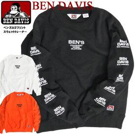 BEN DAVIS スウェット ベンデイビス BENS ロゴ刺繍 クルーネック トレーナー メンズ 袖プリント スエットトレーナー 裏起毛 ベンデイヴィス 2019 秋冬 トップス メンズファッション ストリート カジュアル アメカジ BEN-1449