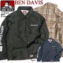 BEN DAVIS コーチジャケット ベンデイビス ウインドブレーカー メンズ ロゴプリント 裏ボアコーチジャケット バックプリント ナイロンジャケット ベンデイヴィス 2019 秋冬 アウター アメ