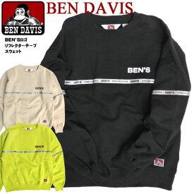 BEN DAVIS スウェット ベンデイビス リフレクター ロゴテープ クルーネック トレーナー メンズ BENS ロゴプリント スエット 裏起毛 ベンデイヴィス 2019 秋冬 トップス メンズファッション カジュアル アメカジ BEN-1453