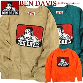 BEN DAVIS セーター ベンデイビス クルーネック ニット メンズ ベンデイヴィス 2019AW ゴリラアイコン ジャガード編み ニットセーター ICON JQ KNIT アメカジ カジュアル メンズファッション 秋冬 トップス BEN-1468