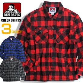 BEN DAVIS シャツジャケット ベンデイデビス チェックシャツ メンズ バッファローチェックシャツ ベンデービス 長袖シャツ チェック柄 トップス フリース素材 シャツ ベンデビ バッファローチェック アメカジ カジュアルファッション BEN-1249