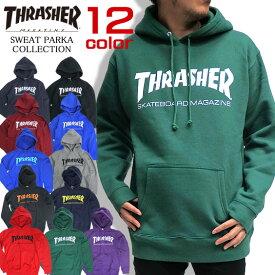 THRASHER スウェット パーカー スラッシャー プルオーバーパーカー メンズ スケーター THRASHER MAGAZINE トップス 裏起毛 スウェット地 プリント スラッシャーマガジン ロゴプリント メンズ ストリート系 THRASHER-001