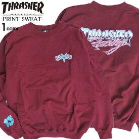 THRASHER トレーナー スラッシャー スウェット メンズ ロゴプリント クルーネック スエット プルオーバー 裏起毛 トップス バックプリント thrasher magazine スケーターファッション スラッシャーマガジン ストリートファッション THRASHER-084