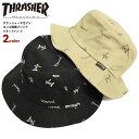 THRASHER ハット スラッシャー ゴンズ ロゴ 総柄 プリント バケットハット 帽子 スラッシャーマガジン バケハ メンズ …