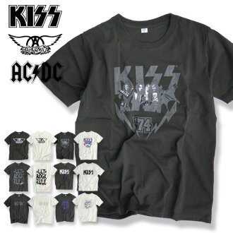 POWER TO THE ROCK collaboration T band T short sleeves T-shirt men lock T ★ KISS kiss AERO SMITH Aerosmith ACDC エーシー D sea rock band artist T-shirt rock band T-shirt vintage design TSS-189