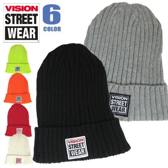 VISION 帽子 VISION STREET WEAR ニットワッチ ★ ヴィジョンストリートウェア フロントのブランドタグがアクセントが効いていてお洒落。カジュアルに使える被りやすいVISIONのニット帽が豊富な6色展開で登場しました。⇒VISION-308