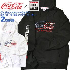 コカ・コーラ パーカー VISION プルオーバーパーカー Coca-Cola ロゴプリント スウェット メンズ ビジョンストリートウェア 袖プリント スエット コカ・コーラコラボ vision street wear ブラック ホワイト 全2色 商品番号 VISION-119