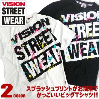VISION T恤斑点印刷VISION STREET WEAR短袖T恤大的标识人印刷T恤标识印刷街道系的大的T恤视觉商品号码VISION-004