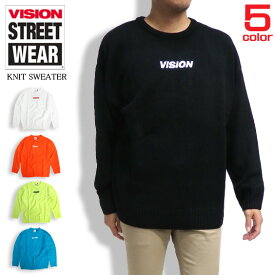 VISION セーター ロゴ刺繍 ニットセーター メンズ ニット トップス ビジョンストリートウェア メンズトップス ブランドロゴ刺繍 VISION STREET WEAR ニットアイテム VISION-067