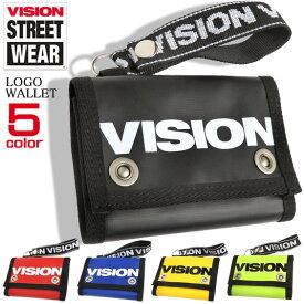 VISION 財布 ロゴリボン 三つ折り財布 ビジョンストリートウェア ロゴプリント 3つ折り サイフ ビビッドカラー カードケース 小銭入れ VISIONSTREETWEAR 薄型 札入れ ストリートファッション 雑貨 VISION-VSTP100