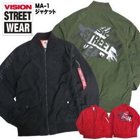 VISION MA-1ジャケット ロゴプリント ミリタリージャケット メンズ MA-1 ジャケット ヴィストリートウェア アウター バックプリント VISION STREET WEAR ロゴ プリント ストリートファッション VISION-045