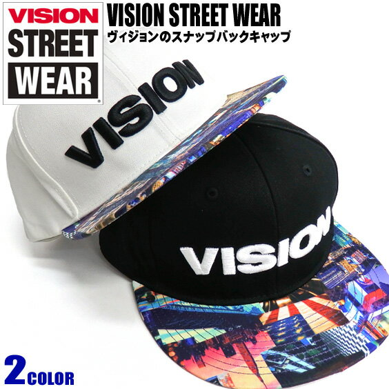 VISION キャップ ロゴ刺繍 スナップバックキャップ 総柄 プリント 帽子 VISION STREET WEAR 小物アイテム ブランドロゴ 刺繍 ストリート系 ヴィジョン 商品番号 VISION-331