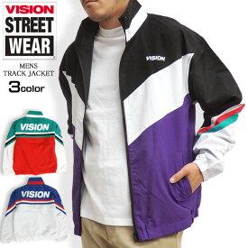 VISION トラックジャケット 切り替え ナイロン ジャケット メンズ ジャージ ビジョン ストリートウェア バックプリント トラックトップ ストリート メンズ ジャケット スポーツ アウター VISION-048