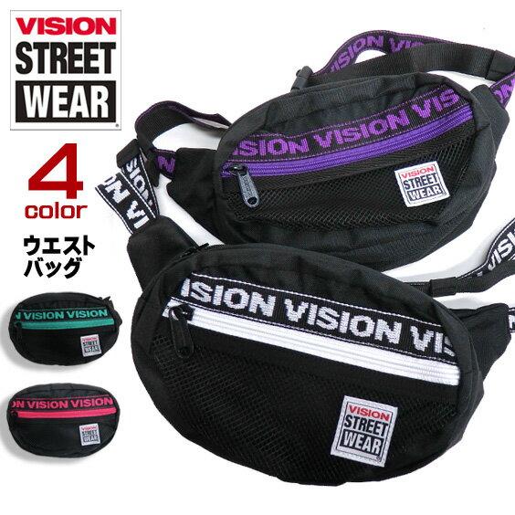 VISION ウエストバッグ ロゴテープ ショルダーバッグ ヴィジョン バッグ メッシュポケット ビジョンストリートウェア 丸型 鞄 メンズ ボディバッグ スケーターファッション カバン VISIONSTREETWEAR ストリートファッション VISION-VSJQ200