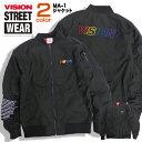 VISION ジャケット ロゴ刺繍 MA-1 メンズ ヴィジョン 3D刺繍 アウター ビジョンストリートウェア MA-1ジャケット スケーターファッション VISION STREET WEAR ストリ