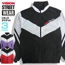 VISION ジャケット ライン切り替え トラックジャケット ナイロンブルゾン メンズ アウター ヴィジョン ロゴ プリント ビジョンストリートウェア ジャージ VISION STREET WEAR ストリートファッション VISION-138