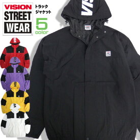 VISION トラックジャケット 切り替え アノラックパーカー メンズ ナイロンブルゾン シワ加工 ヴィジョン ロゴ プリント ビジョンストリートウェア VISION STREET WEAR ストリートファッション VISION-139