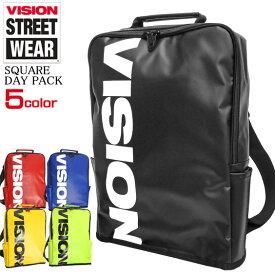 VISION リュック ロゴ デイパック ターポリン バックパック メンズ レディース ビジョンストリートウェア 薄型 スクエアリュック ヴィジョン バッグ スケーターブランド カバン VISIONSTREETWEAR 鞄 ストリート VISION-VSTP504