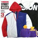 VISION ジャケット ロゴ刺繍 トラックジャケット ヴィジョン ナイロンブルゾン メンズ アウター ビジョン ロゴ プリント VISION STREET WEAR フード付きアウター ストリート系