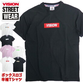 VISION Tシャツ ボックスロゴ 半袖Tシャツ ロゴ 刺繍 ヴィジョン ロゴプリント トップス 半袖 ビジョン VISION STREET WEAR ストリート系ファッション カジュアルコーデ VISION-147