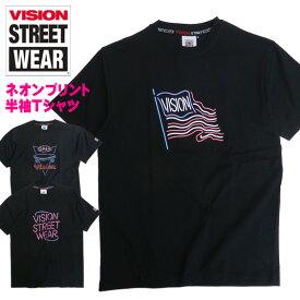 VISION Tシャツ ネオンサイン 半袖Tシャツ ヴィジョン ロゴ プリント ネオン トップス 半袖 ビジョン VISION STREET WEAR ストリート系ファッション カジュアルコーデ VISION-148
