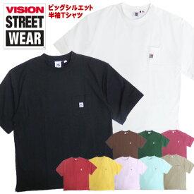 VISION Tシャツ 半袖 ヴィジョン Tシャツ USAコットン ヴィジョンストリートウェア ポケットTシャツ ビッグサイズ スケーター コーデ ビッグシルエットTシャツ 胸ポケット オーバーサイズ VISION-153