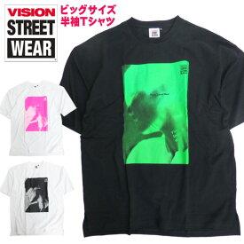 VISION Tシャツ フォトプリント 半袖Tシャツ メンズ ヴィジョンストリートウェア ロゴ プリント トップス ビッグサイズ メンズトップス VISION STREET WEAR メンズファッション ビジョンストリートウェア スケーター ストリート系 VISION-164