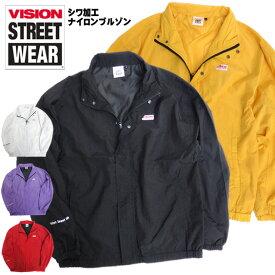 VISION ジャケット シワ加工 ナイロンブルゾン メンズ ヴィジョン ブランドロゴ ビジョンストリートウェア アウター ナイロンジャケット スケーターファッション VISION STREET WEAR ストリートファッション VISION-169