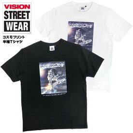 VISION Tシャツ 半袖 ヴィジョン Tシャツ 宇宙 プリント ヴィジョンストリートウェア コスモメタリック Tシャツ ビジョン プリントTシャツ ストリート ファッション スケーター コーデ VISION-190