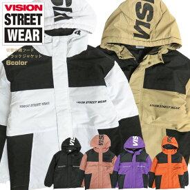 VISION STREET WEAR マウンテンパーカー 切替 中綿トラックジャケット ロゴプリント トラックジャケット 中綿入り 切り替え ウィンドブレーカー ヴィジョンストリートウェア スポーツジャケット メンズ アウター VISION-202