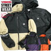 VISIONフリースジャケットヴィジョンストリートウェアフードジャケット