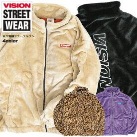 VISION ファーブルゾン スタンドカラー ヴィジョンストリートウェア ロゴ刺繍 ファー ジャケット メンズ VISION STREET WEAR 秋冬 もこもこ アウター ヴィジョン 2019AW ストリート カジュアル VISION-204