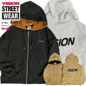 VISION パーカー ボア使い 裏起毛 ジップパーカー ヴィジョンストリートウェア ボア ロゴ刺繍 ジップアップ スウェットパーカー VISION STREET WEAR 2019AW ストリート カジュアル トップス VISION-223