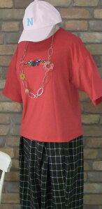 『merlot』☆ソフトな雰囲気〜果物刺繍柄〜半袖Tシャツ(レッド)(春・夏・秋) レディース トップス 女性 赤 フルーツ ジューシー【merlot(メルロー)】 メルロー