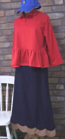 『merlot』〜裾フリルペプラム7分袖プルオーバーポロシャツ(レッド(赤))(春・秋) レディース 女性 トップス プルオーバー 長袖  無地 【merlot(メルロー)】 メルロー