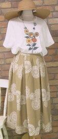 『merlot plus』〜レース状のエスニックサークル柄〜(ゴールデンカーキ)(夏・秋・春) レディース 女性 ボトムス スカート ロング 10分丈 黄緑 やや光沢 【merlot plus(メルロープリュス)(メルロープラス)】