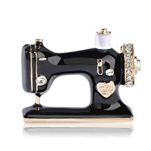 MECHOSEN かわいい 面白い ミシンのブローチ ピンバッジ メンズ ネクタイピン おしゃれ ファッション クリスマス ホロウイーン 人気 ギフト プレゼント スカーフピン ストールピン 黒い