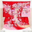 【お宮参り 産着レンタル】【女の子】mj8034 赤地にピンク祝花の舞【ベビー帽子セット付】《レンタル産着》《祝着レ…