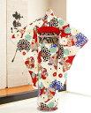 ジュニア着物レンタル 「九重」ブランド白地に古典慶びの花輪 jk050【女の子フルセットレンタル】/13まいり/結婚式/…