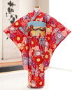 ジュニア着物レンタル 「花わらべ」ブランド 赤地に彩りの慶華繚乱 jk1077【女の子フルセットレンタル】〔結婚式〕〔…